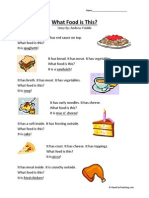 What Food is This Kindergarten Grade Reading Comprehension Worksheet