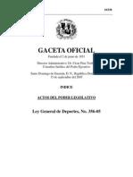 Ley General de Deportes, No. 356-05. República Dominicana.