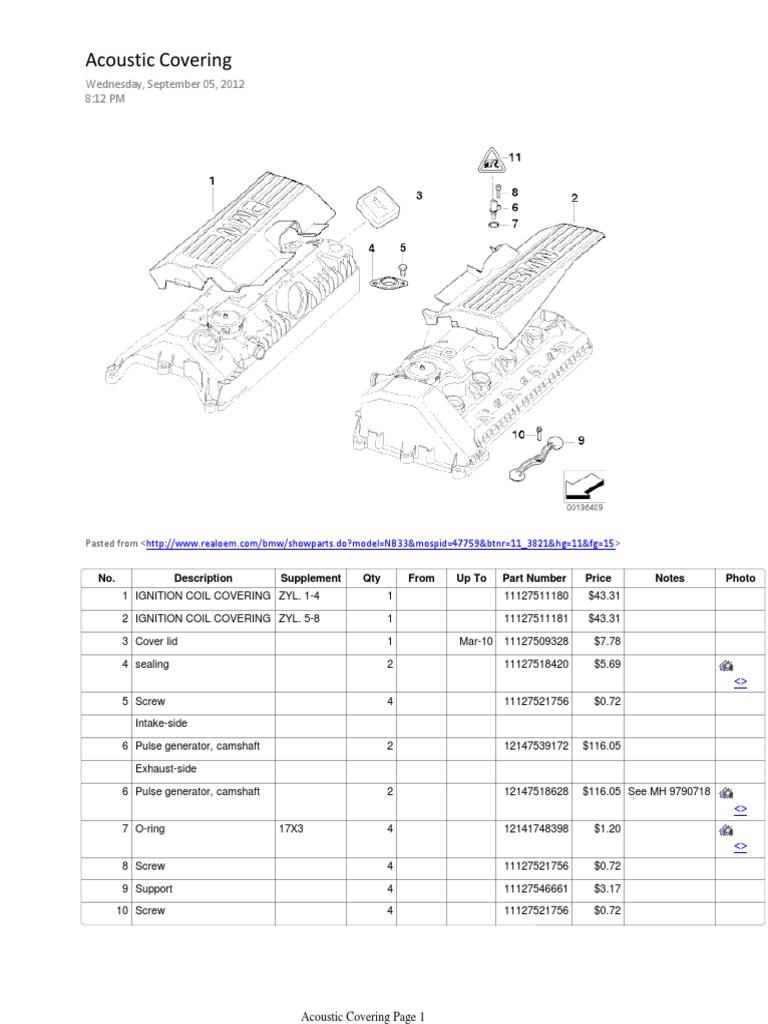 BMW e60 Engine Seals Notebook | Valve | Screw