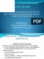 CASE STUDY – CORE VALUE STAFFING SERVICES KDA – WTO, BRICS, OPRATIONAL RISK, GENERIC COMPETITIVE STRATEGIES.