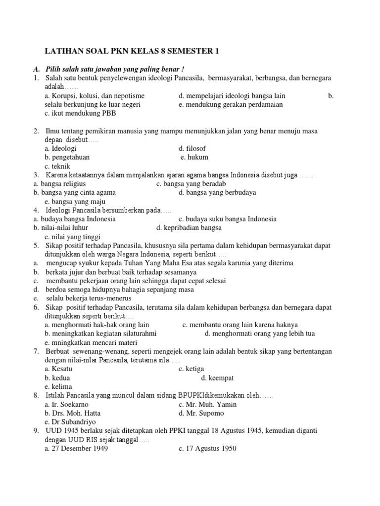 Latihan Soal Pkn Kelas 8 Semester 1