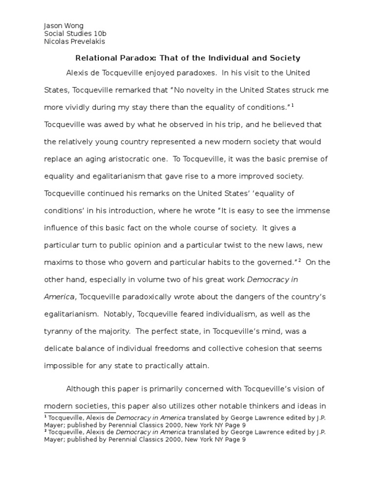 tocqueville equality of conditions