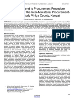 To What Extend is Procurement Procedure Followed Under the Inter Ministerial Procurement Case Study Vihiga County Kenya