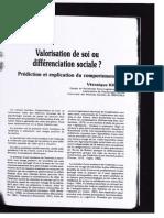 Kientz- Valorisation de Soi ou Differenciation Sociale