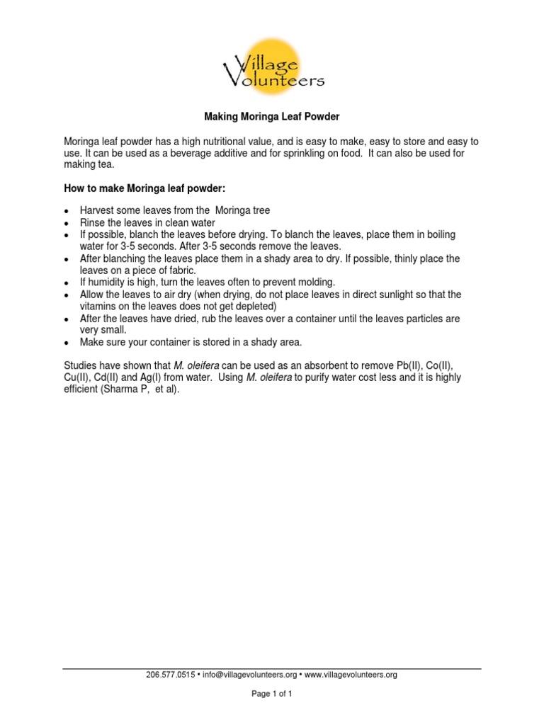 How to Make Moringa Leaf Powder