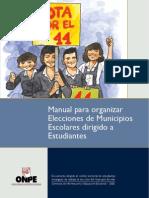 Manual para organizar  Elecciones de Municipios  Escolares dirigido a  Estudiantes - ONPE