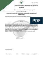 Antagonistic Effect of Pseudomonas Mendocina Isolate against Phytopathogenic Fungi.