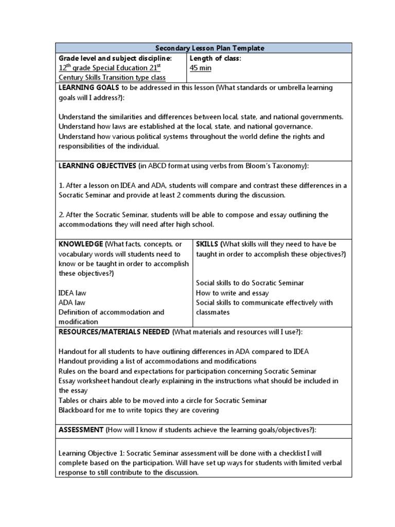 Socratic Seminar Secondary Lesson Plan Differentiation InTasc 2 ...