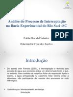 Análise do Processo de Interceptação na Bacia Experimental do Rio Saci -SC