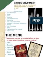 Fb Service Equipment and Menu