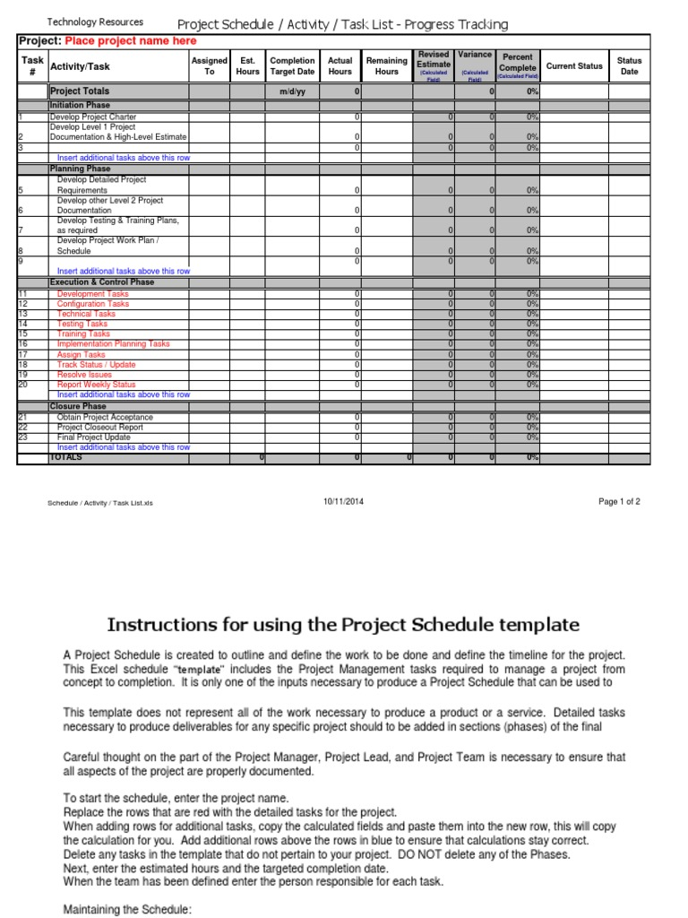 Project Schedule Template Excel from imgv2-2-f.scribdassets.com