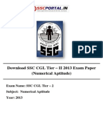 Download SSC CGL Tier II 2013 Exam Paper Numerical Aptitude Held on 21-9-2014