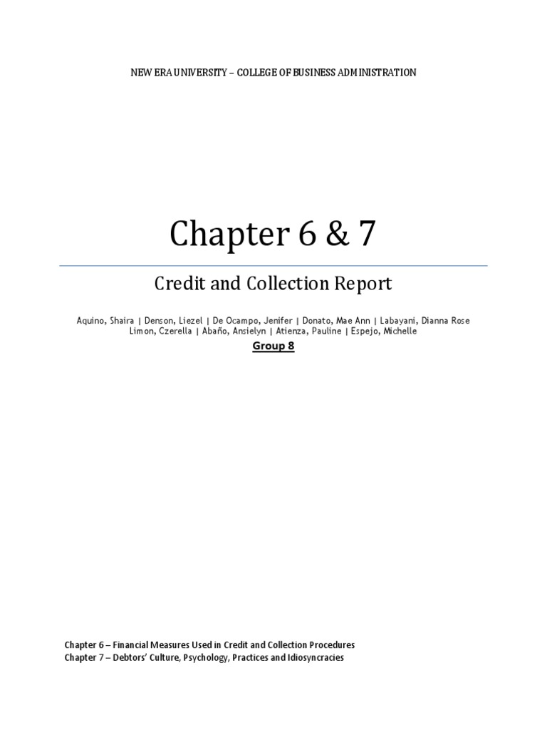 chapter 6 7 credit and collection report credit finance