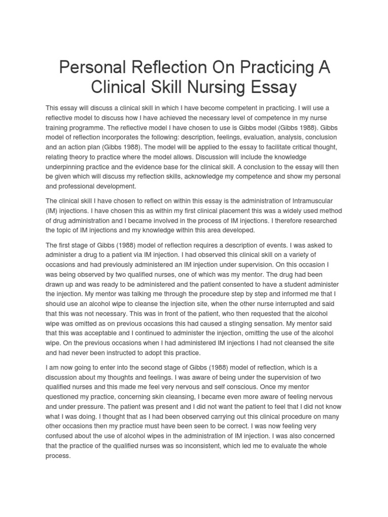nursing clinical placement reflection