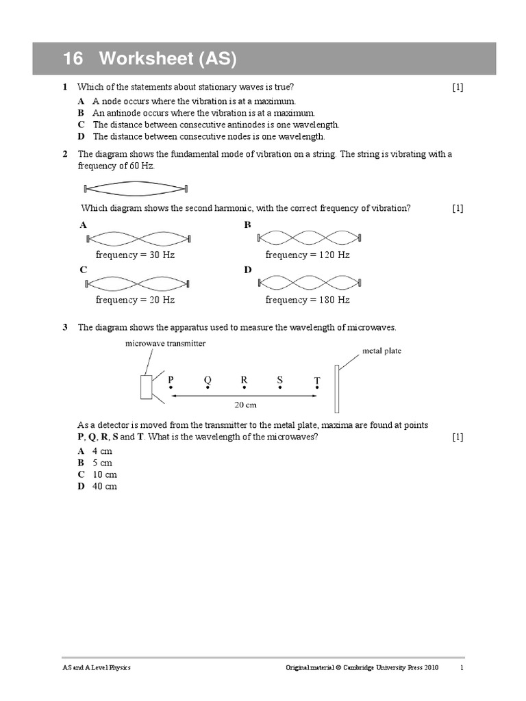 worksheet16pdf Waves – Wavelength Worksheet