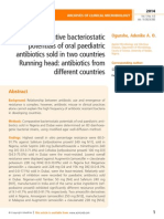 Comparative bacteriostatic potentials of oral paediatric antibiotics sold in two countries Running head