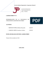 Informe 1 Determinacion de la viscosidad de un liquido mediante el Metodo de Stokes UTP