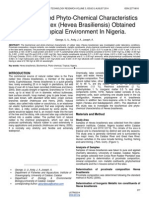 Biochemical and Phyto Chemical Characteristics of Rubber Latex Hevea Brasiliensis Obtained From a Tropical Environment in Nigeria