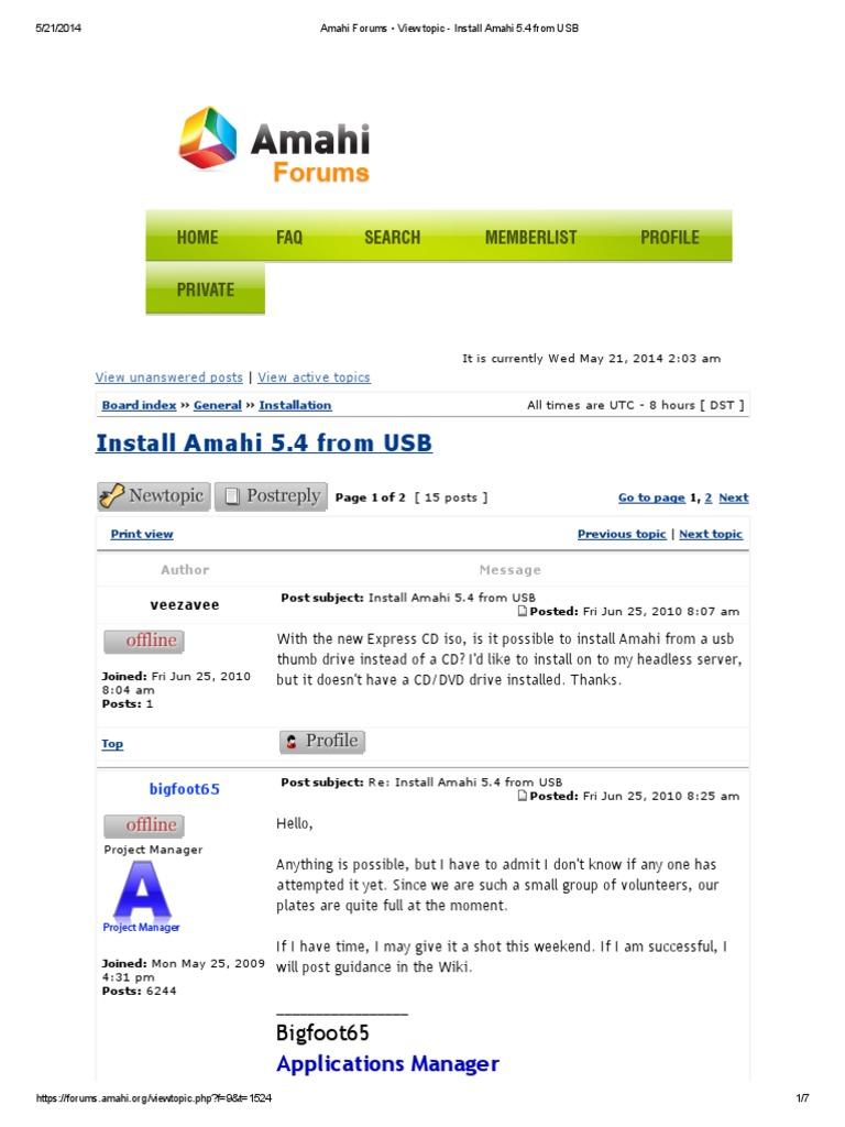 Amahi Forums • View Topic - Install Amahi 5 4 From USB | Internet