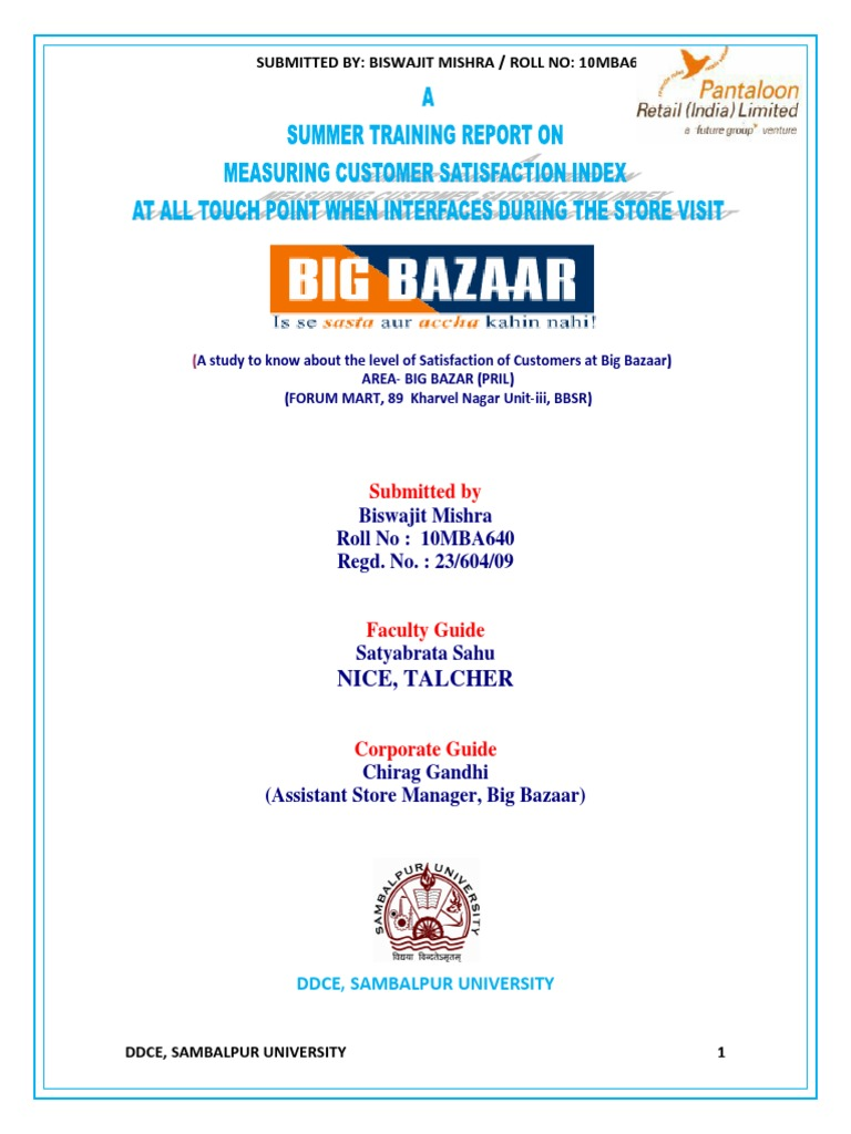 Review of literature on customer satisfaction in big bazaar