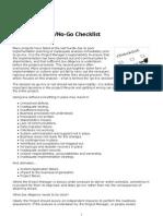 The Project Go No Go Checklist