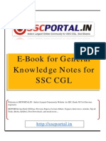 Download E Book for General Knowledge Notes for SSC CGL