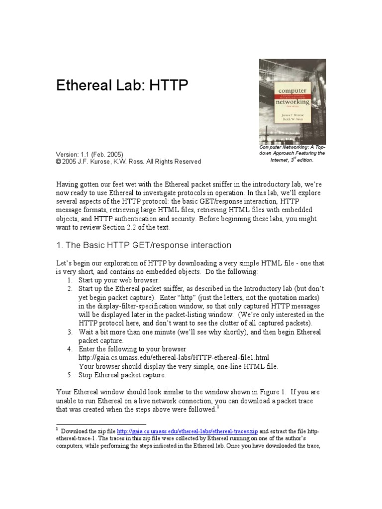 ethereal http hypertext transfer protocol web server