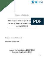 Mise en place d'un budget de trésorerie au sein de SAMARCANDE CAPITAL MANAGEMENT.docx