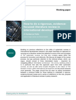 How to Do a Rigorous, Evidence-Focused Literature Review in International Development (Hagen-Zanker, Mallett - 2013)