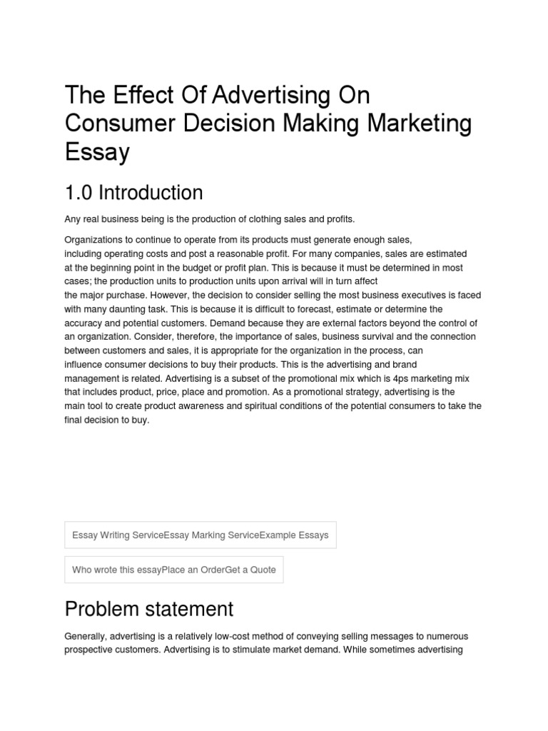 advertising essays an introduction to advertisement analysis in  the effect of advertising on consumer decision making marketing the effect of advertising on consumer decision