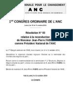 Resolution N°03 RECONDUCTION DU PRESIDENT NATIONAL.doc