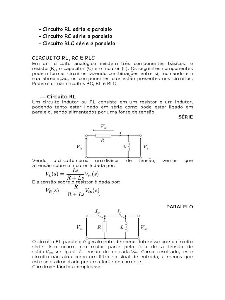 Circuito Rl : Circuito rl rc e rlc serie e paralelo pdf