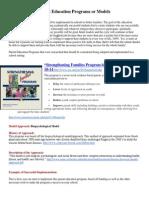 comparison of parent education programs or models