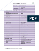 General Surgery Topic List