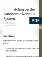 Drugs Acting on the Autonomic Nervous System