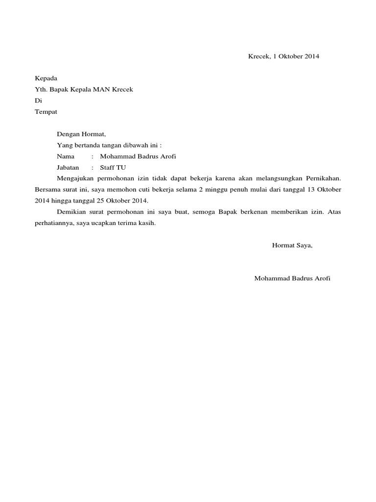 Contoh Surat Izin Menikah Pns Dari Atasan Kumpulan Surat Penting