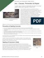Spalling of Concrete Prevention & Repair