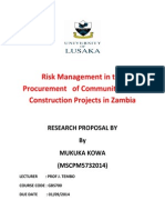 Research Proposal- Risk Management in the Procurement of Community Based Construction Projects in Zambia. Mukuka KOWA