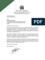 Carta de Felicitación a Cristóbal Marte Hoffiz