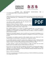 DECLARACIÓN INSTITUCIONAL GENERALITAT VALENCIA