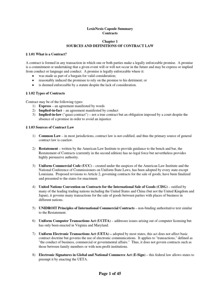 Lexisnexis Contracts Outline Law School Offer And Acceptance