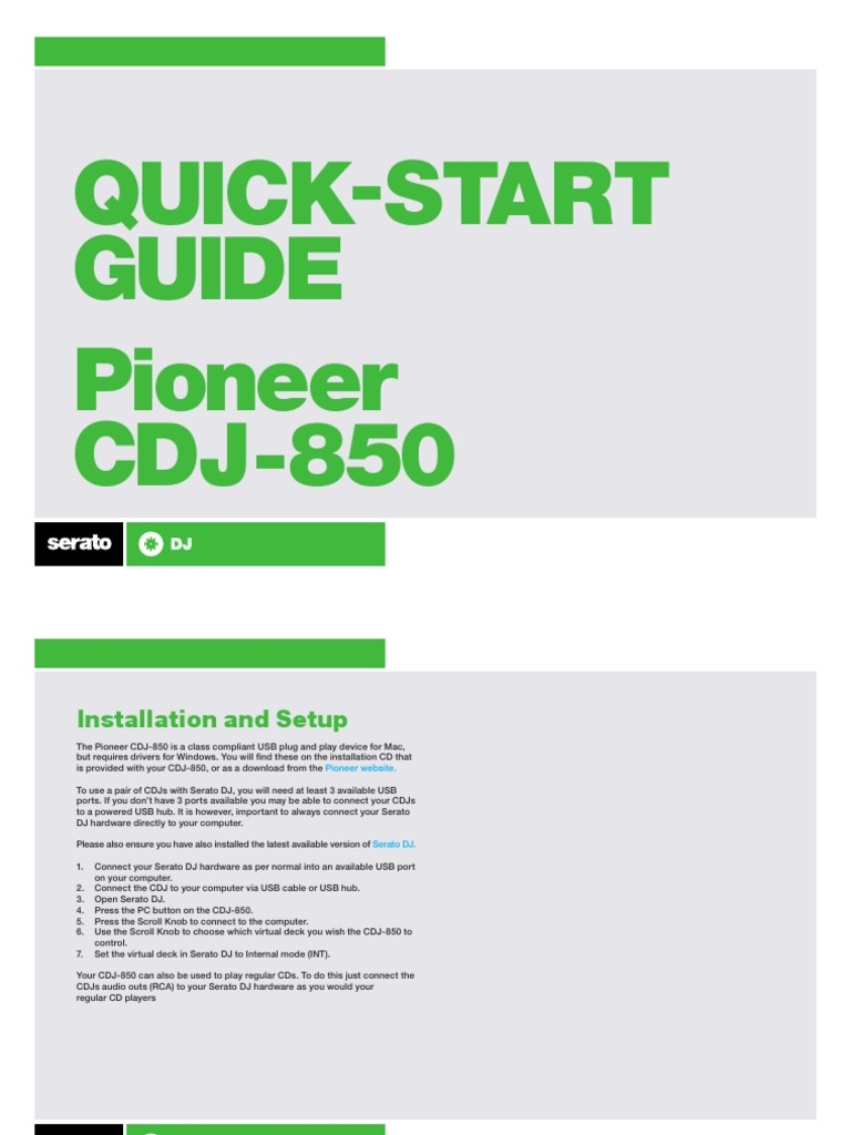 Pioneer CDJ-850 QSG pdf   Media Technology   Digital