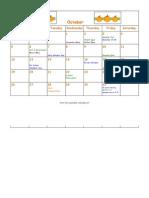 Oct. Volunteer Calendar