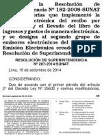 Emisión electrónica de Recibos por Honorarios_Resolución de Superintendencia N°  287-2014/SUNAT