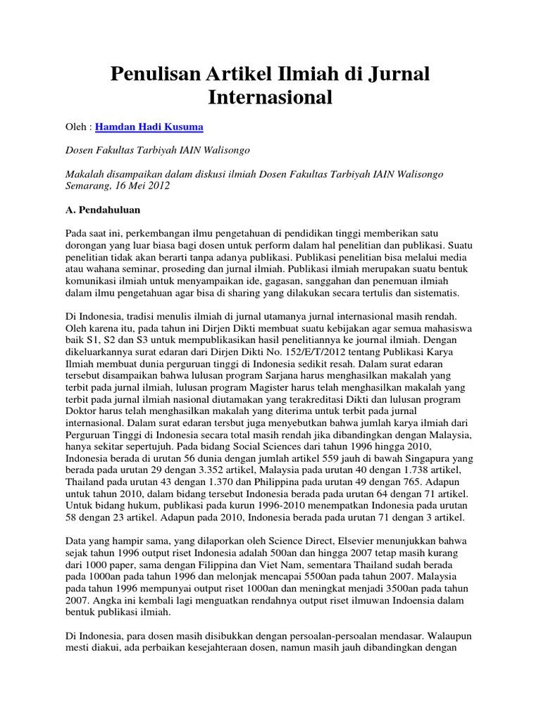 Penulisan Artikel Ilmiah Di Jurnal Internasional
