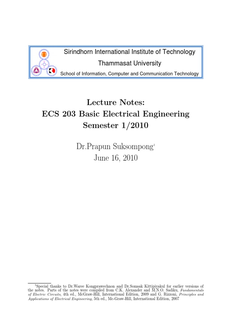 Basic Electrical Engineering- Leacture Notes | Series And Parallel Circuits  | Resistor