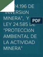 """Ley 24.196 de """"inversión minera"""",  y Ley 24.585 de """"protección ambiental de la actividad minera"""""""