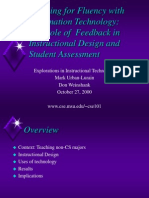 The Role of Feedback in Instructional Design and Student Assessment