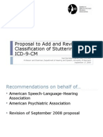 Proposal to Revise Classification of Stuttering in ICD-9-CM
