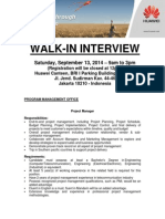 Huawei Walk in Interview - Jakarta Sep 13, 2014